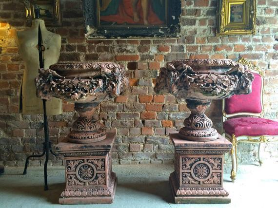 Impressive Large Italian Style Garden Urns Terracotta Rams Head Planters Plinth