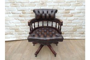 Thumb dark brown traditional fully buttoned captains chair 0