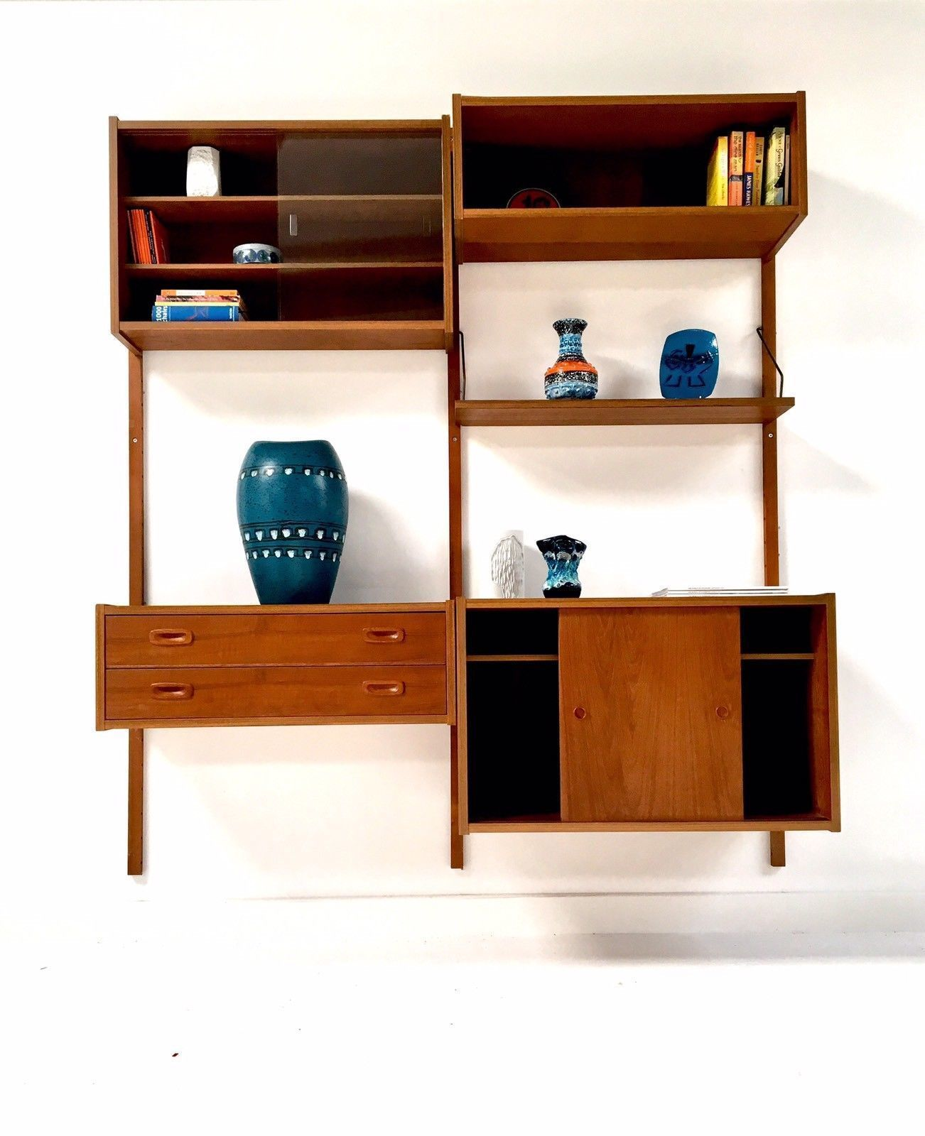Mid Century Vintage Teak P S System Modular Wall Shelving System Desk  Drawers