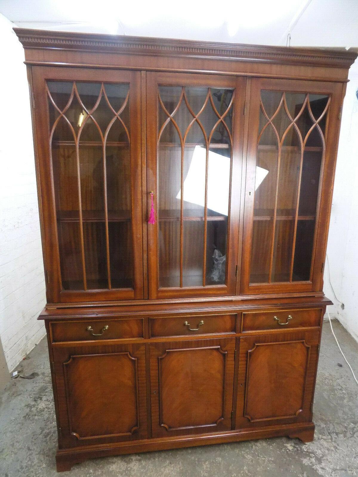 Antique Georgian Repro 6 Door Glazed Mahogany Bookcase Cupboard Shelves Drawers