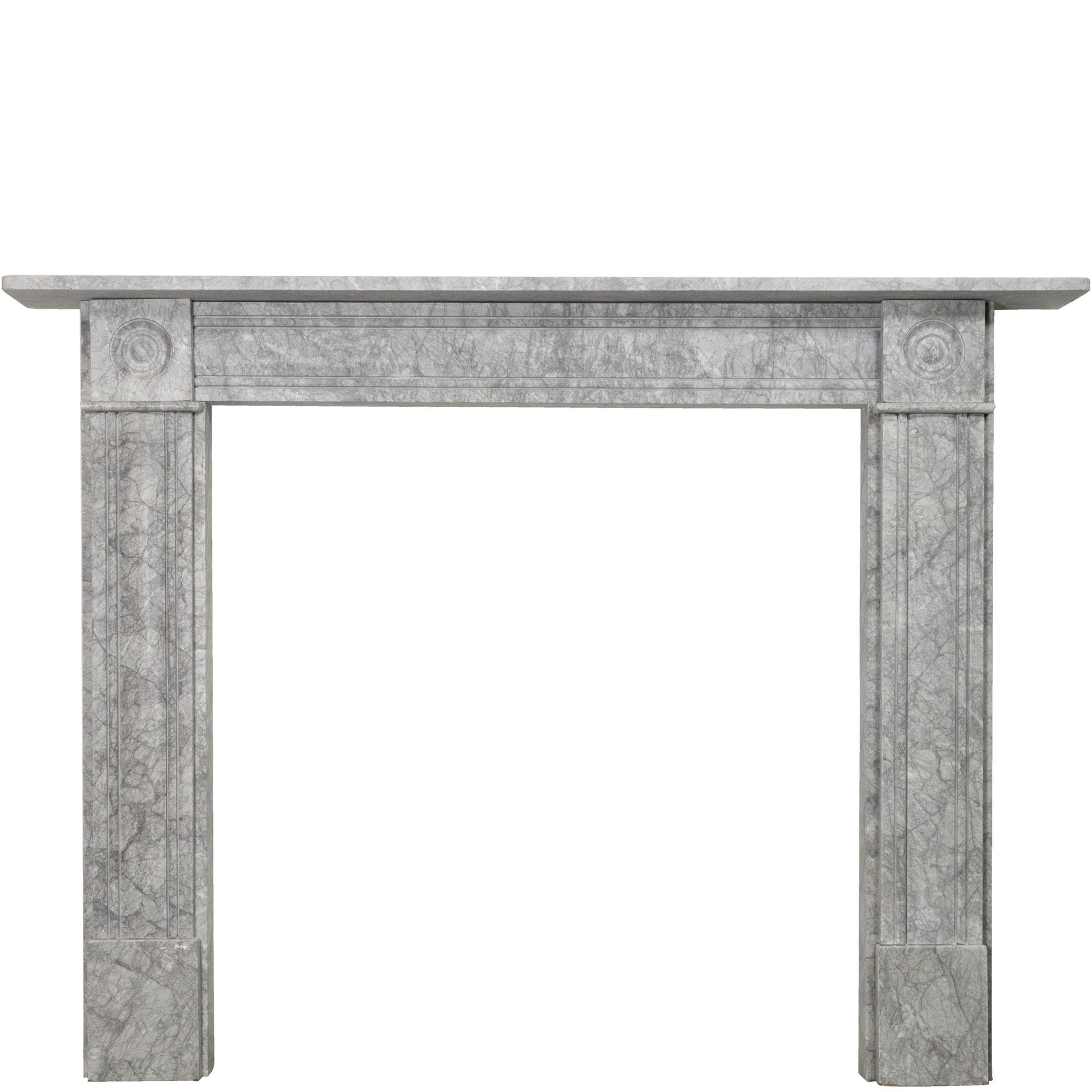 Georgian Style Bullseye Grey Marble Fireplace Surround Vinterior