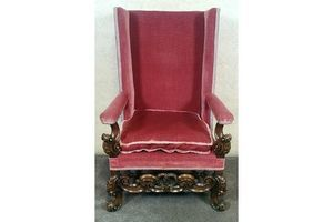 Thumb large late 19th century carved walnut baroque armchair 0