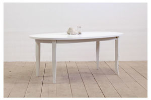 Thumb 6 seater contemporary modern solid wood white oval dining table with saber legs 0