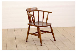 Thumb antique victorian rustic solid oak stick back office dining captains chair 0