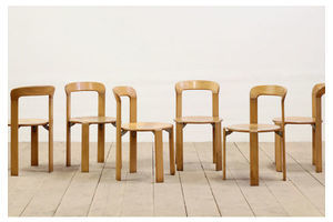 Thumb 6x mid century modernist dietiker beech stacking chairs by bruno rey c 1970 s 0