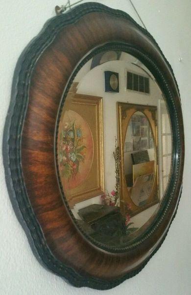 Edwardian Mahagony Carved Frame Beveled Wall Mirror