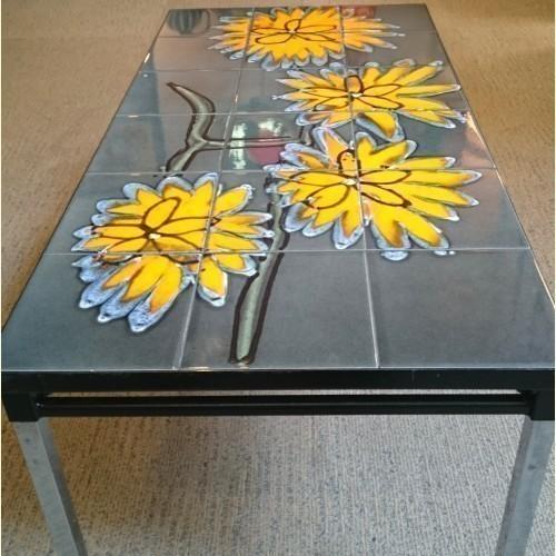 Belgian Yellow Flower Tile Topped Table