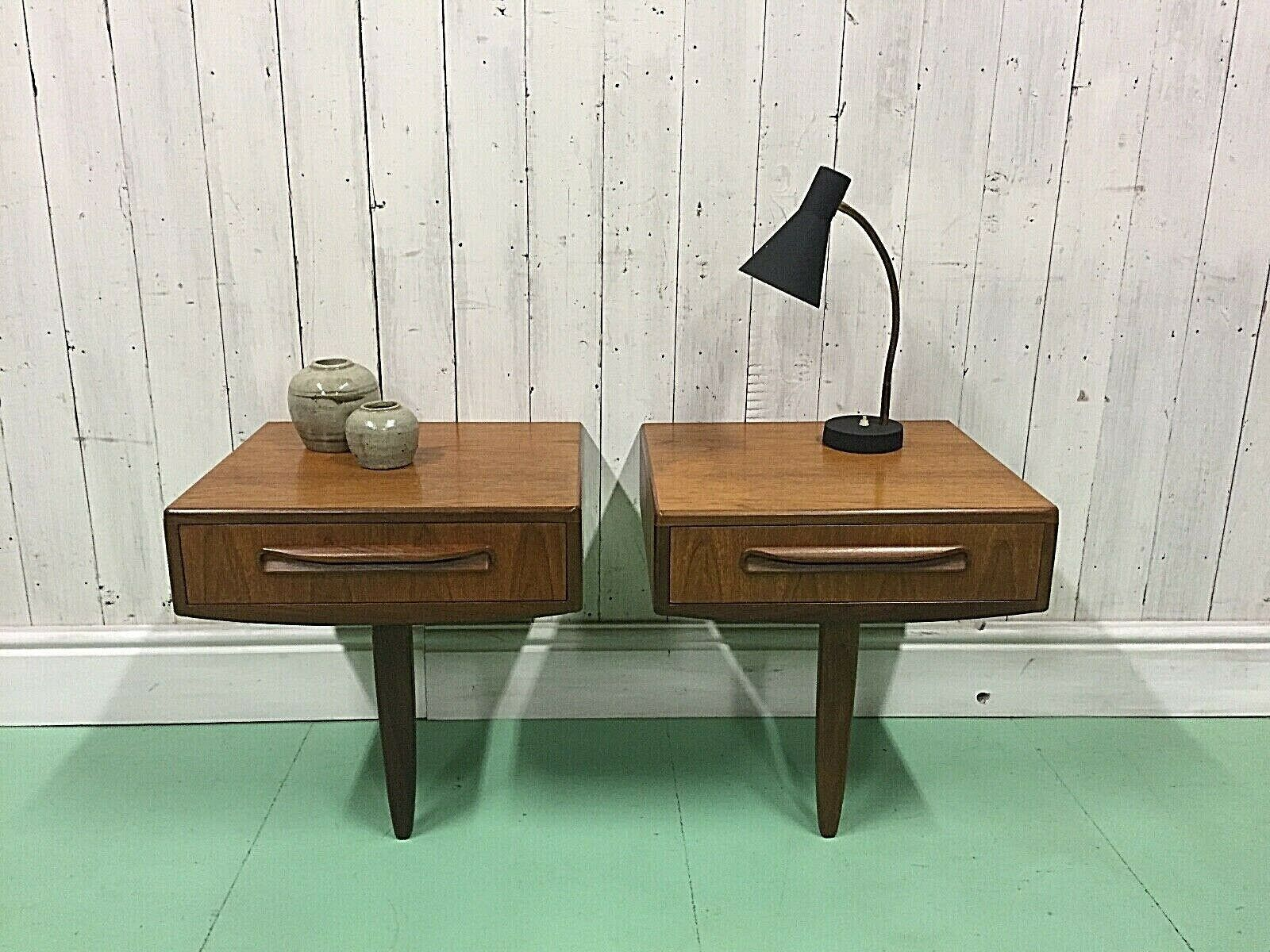 pair of gplan bedside cabinets floating retro mid century danish table vtg lamp unknown 0
