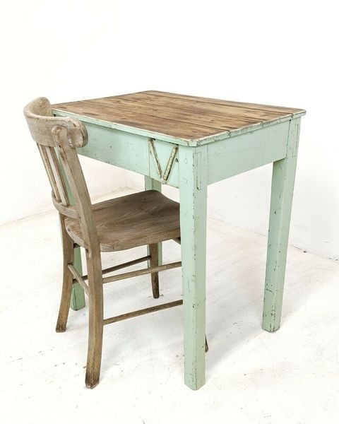 Antique Painted Pine Desk, Rustic Small Table