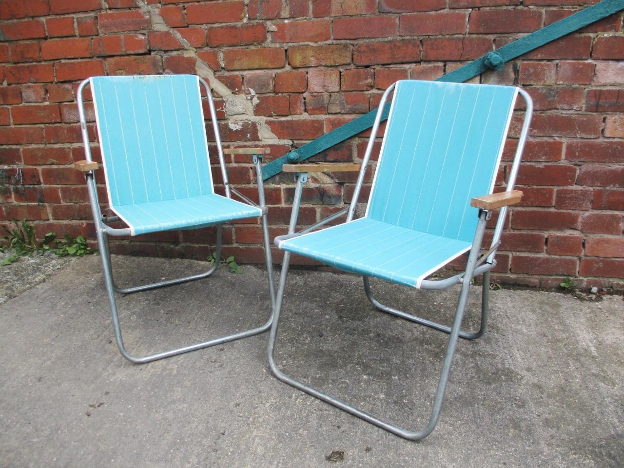 Pair Vintage 60s Blue Striped Folding Chairs Beach Camping Garden Festival Retro Vinterior