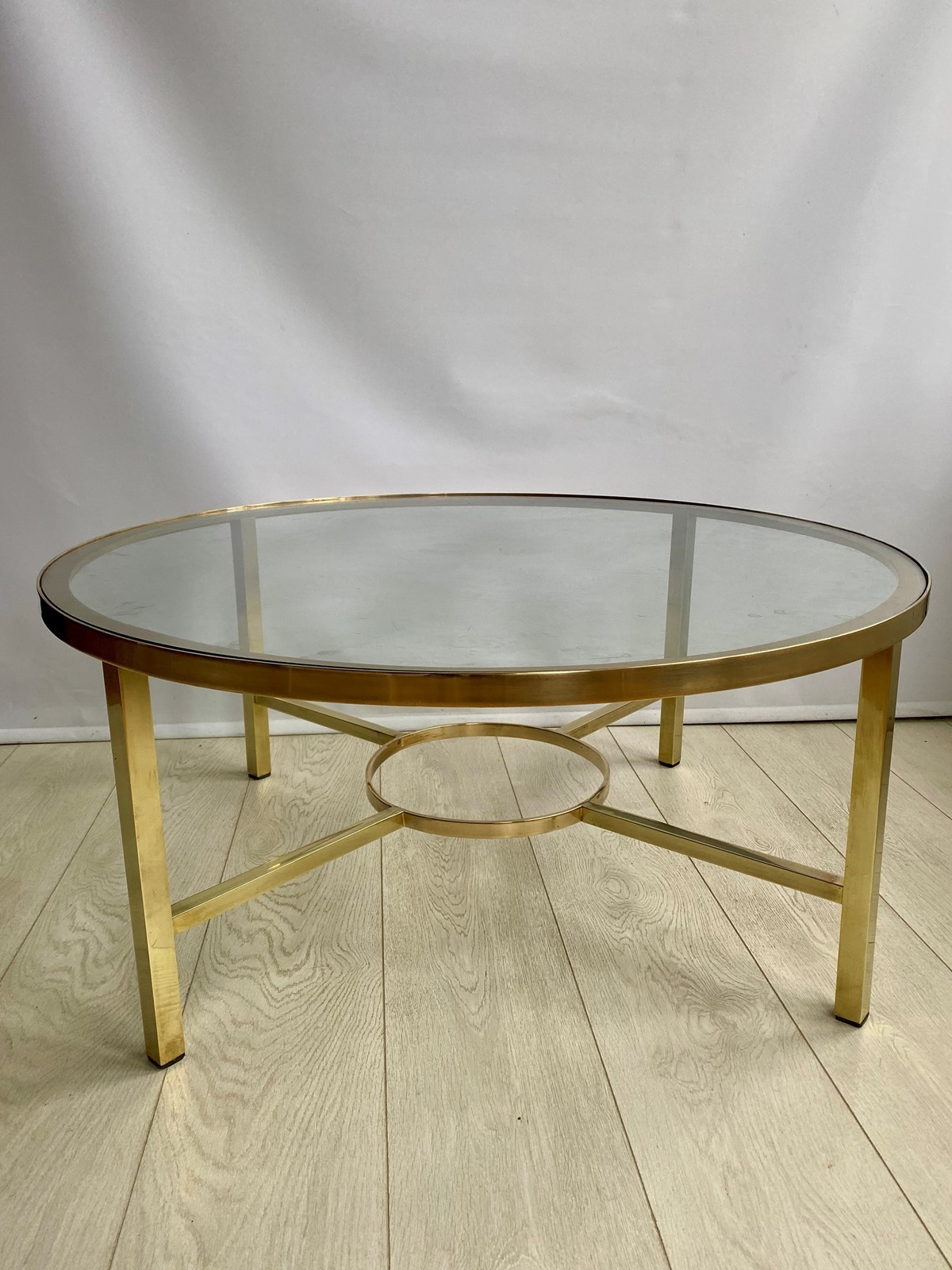 Vintage Brass Round Circular Coffee Table Vinterior