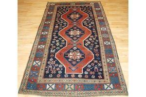 Thumb antique caucasian karabagh or armenian kazak rug people and animals circa 1900 0