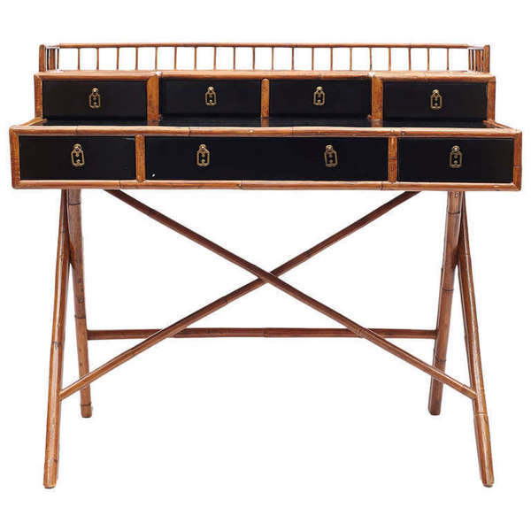Black Lacquered Bamboo Desk