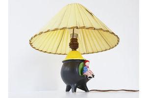 Thumb table lamp tripode 50 years black ceramic nylon vintage 50 s 0