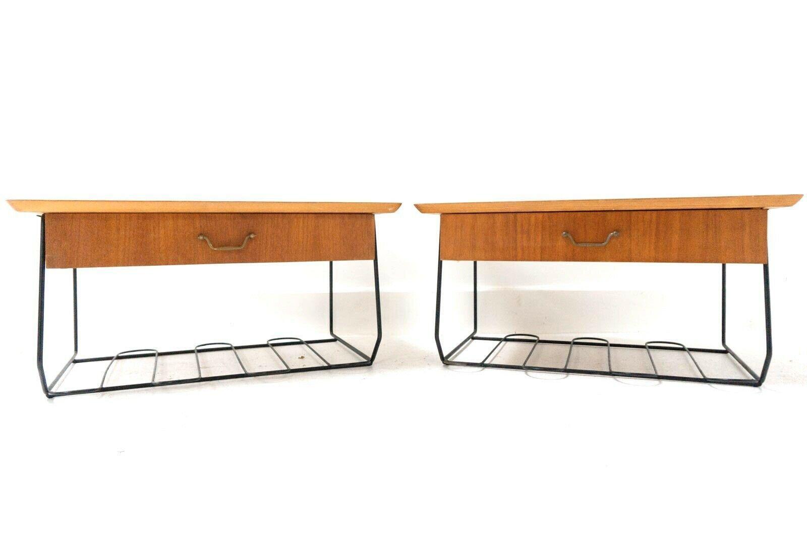 mid century vintage swedish teak floating bedside nightstands drawers 1148 0