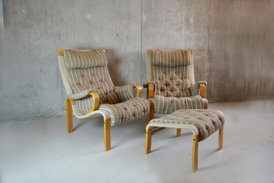 Amazing Pair Of Mid Century Danish Armchairs With Footstool