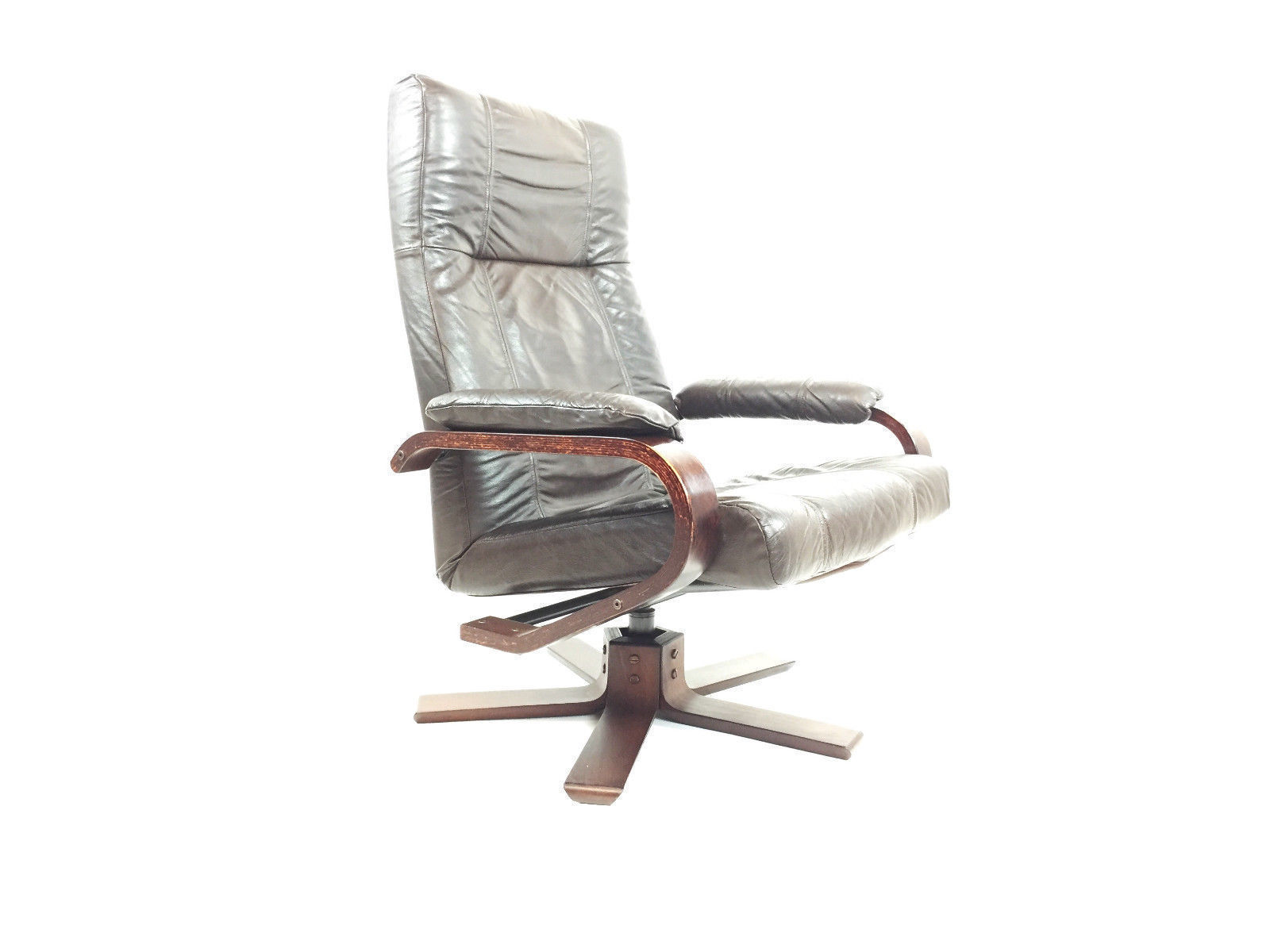 Remarkable Danish Kebe Swivel Brown Leather Chair Office Vintage Antique Theyellowbook Wood Chair Design Ideas Theyellowbookinfo