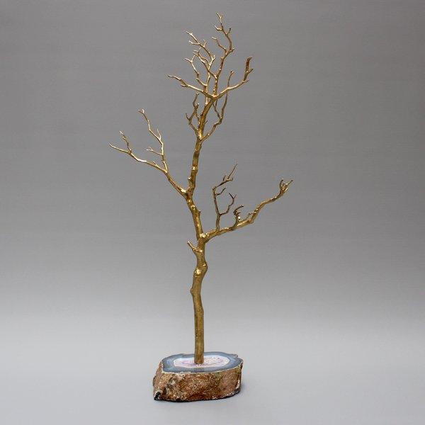 Large Brass And Agate Decorative Tree / Jewellry Display Tree
