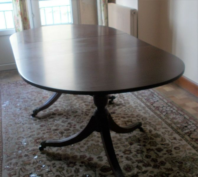 Regency Style Twin Pedestal Extending Dining Table Oval End 70s Vinterior
