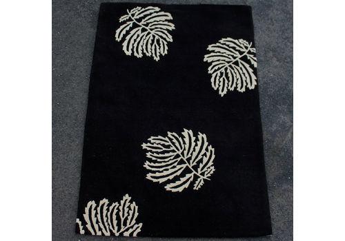 Black Rug Thick Pile Carpet 180.6 X 121.5 Cm Wool Pile