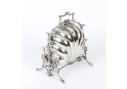 Antique Victorian Silver Plated Shell Folding Biscuit Box Fenton Brothers 19th C