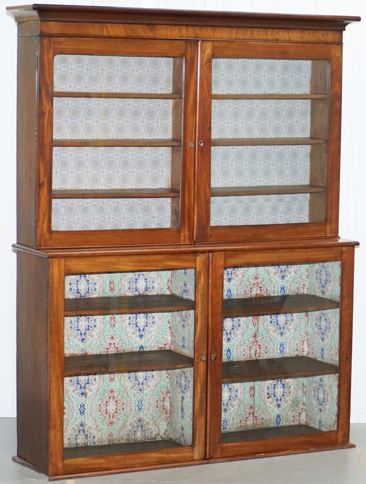 Victorian Library Bookcase Cabinet With Gl Doors Solid Mahogany Rare Find