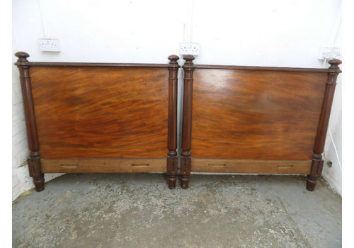 Antique,Victorian,1800's,4' W,Solid,Mahogany,Wood,Bed Frame,Round Columns,Bed