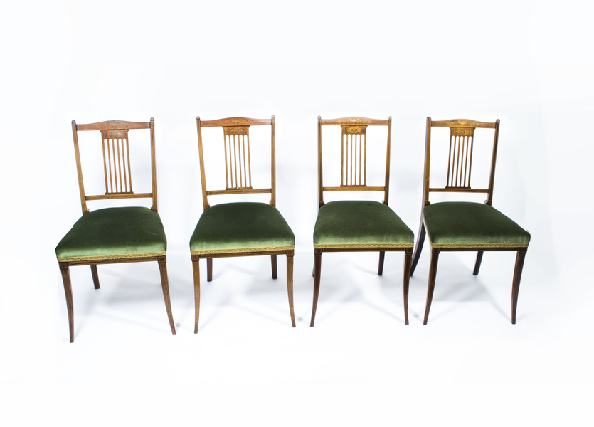 Set Of 4 Edwardian Inlaid Rosewood Chairs  photo 1