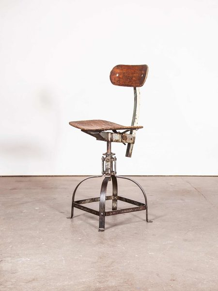 1950 S Original French Bienaise Swivelling Workshop Chair Desk Chair Cream And Metal Frame Vinterior
