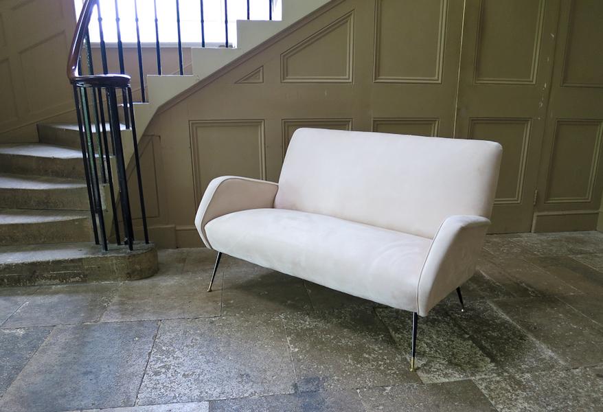 Angular Design Two Seater Sofa In Cream Suede