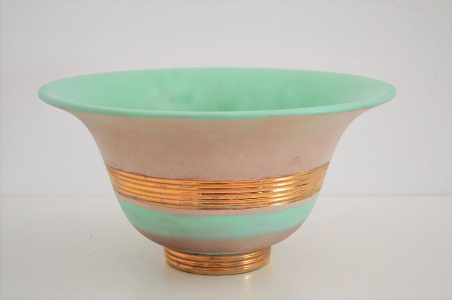 Hand Painted & Gilt Ceramic Bowl By Gio Ponti For Richard Ginori, 1930s