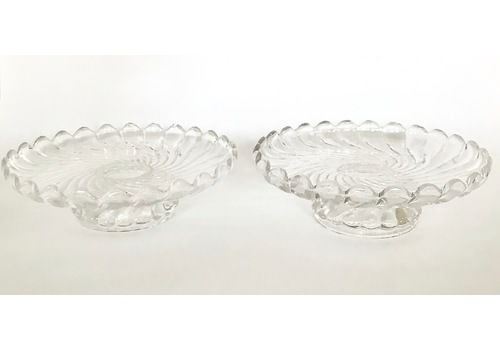 Baccarat French Antique Crystal Bamboo Swirl Footed Candy Dish Set Of Two