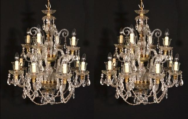 Vintage Venetian 12 Light Chandeliers