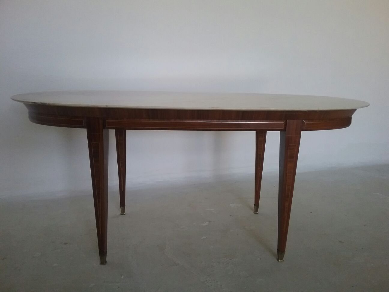 Vintage French Mahogany And Marble Dining Table 1970s Vinterior
