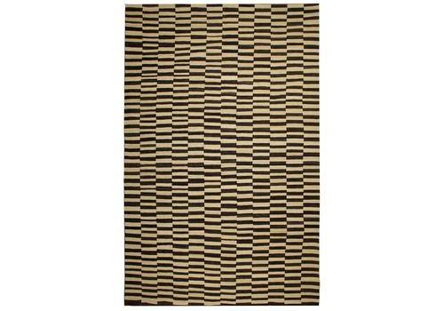Handwoven Modern Striped Kilim   Black Cream Checkerboard Design Flat Woven Rug  258x429cm