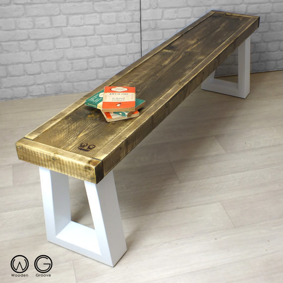 Surprising Industrial Reclaimed Rustic Timber Bench With Box Frame Legs Caraccident5 Cool Chair Designs And Ideas Caraccident5Info