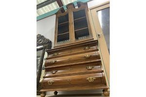Thumb antique mahogany glazed bookcase over serpentine chest of draws 0