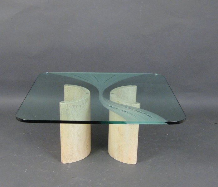 Stone And Glass Coffee Table Vinterior