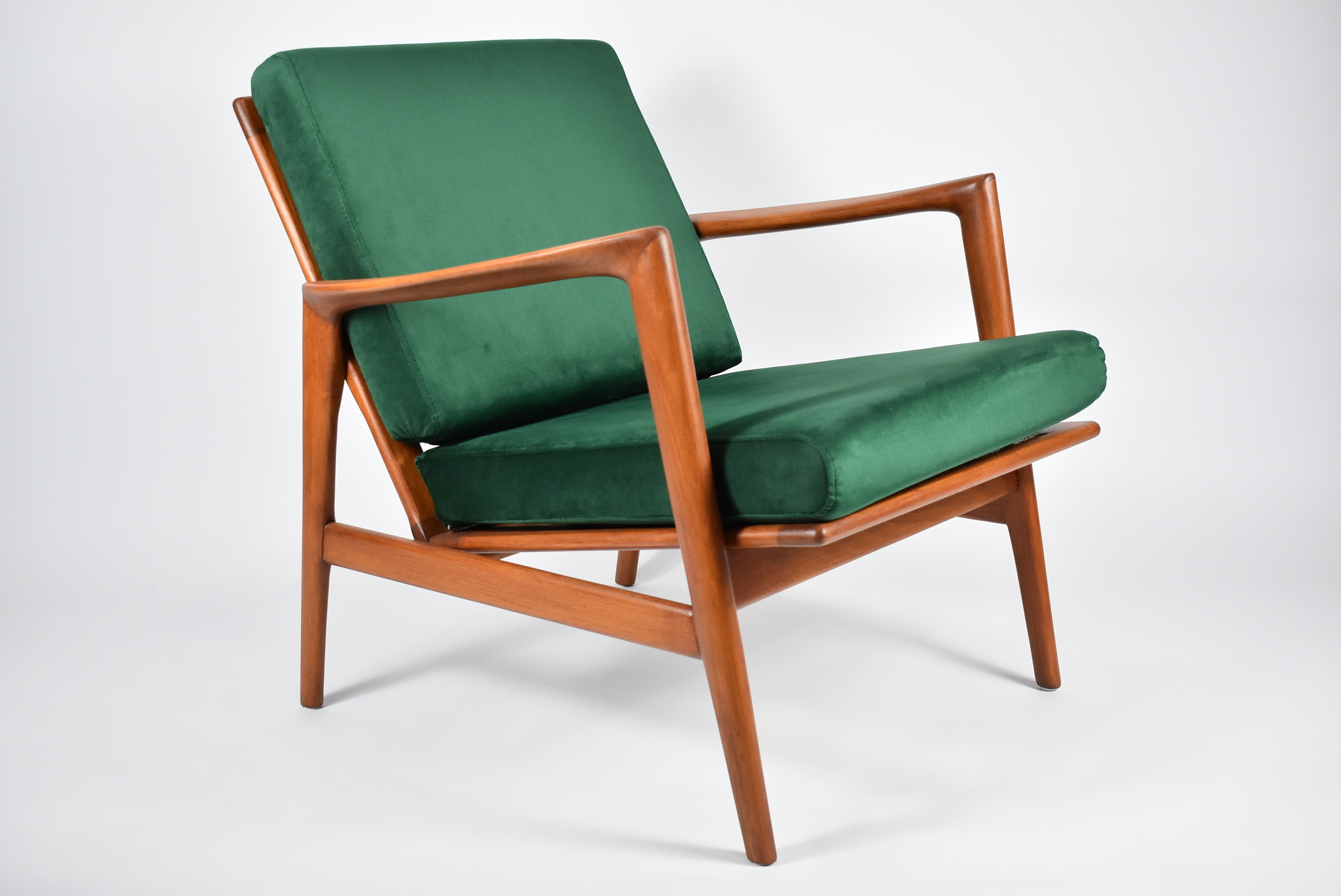 scandinavian armchair model 300 139 stefan swarzedzka furniture factory 1960s green bottle velvet queryID=undefined