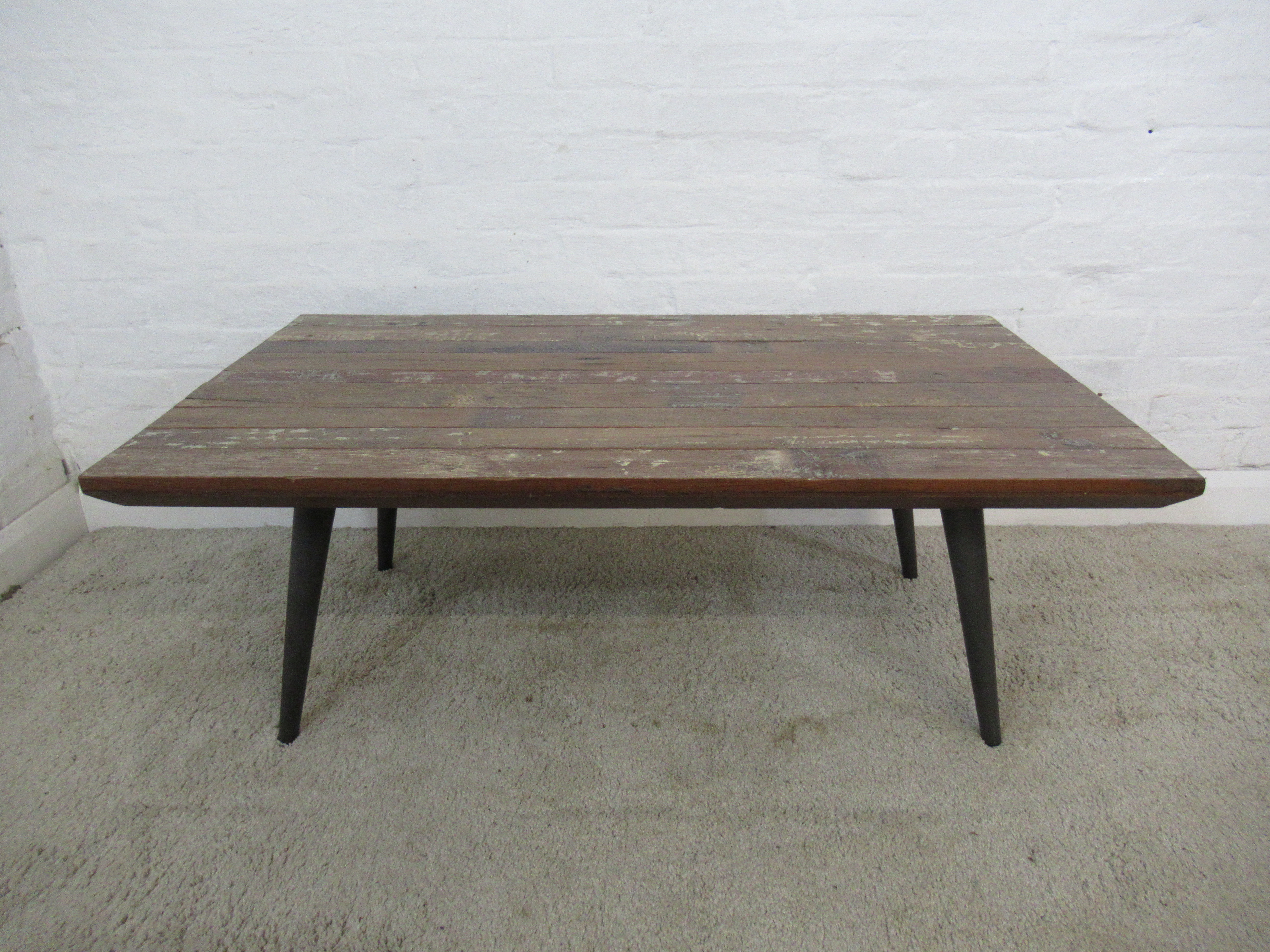 Picture of: Industrial Style Reclaimed Wood And Steel Black Metal Legs Large Coffee Table Unknown Vinterior