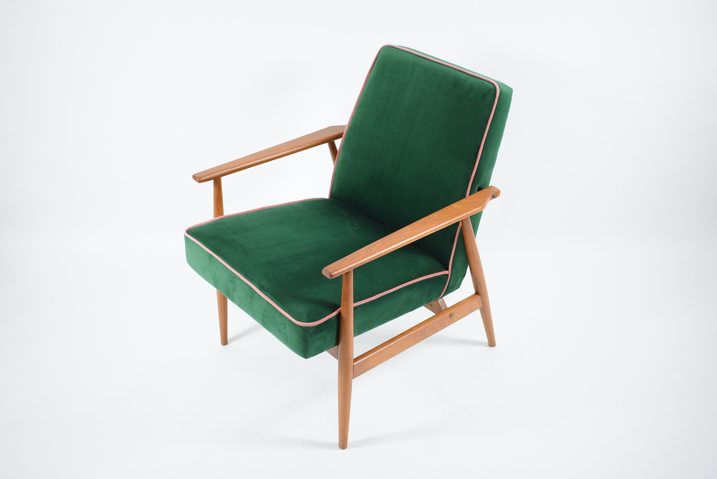 mid century retro armchair 1960s east europe restored green bottle velvet queryID=undefined