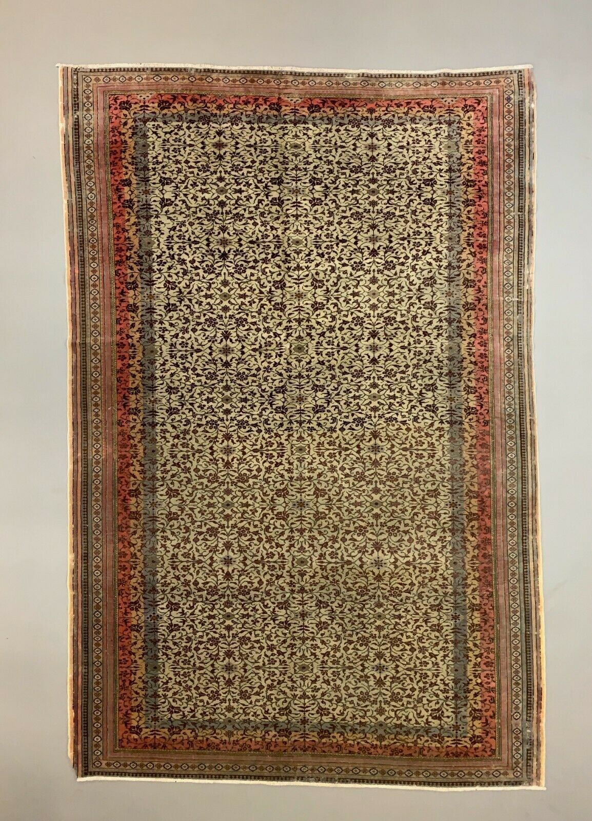 Large Distressed Turkish Rug 290x190 Cm Wool Hand Knotted Vintage Tribal Beige Unknown Vinterior