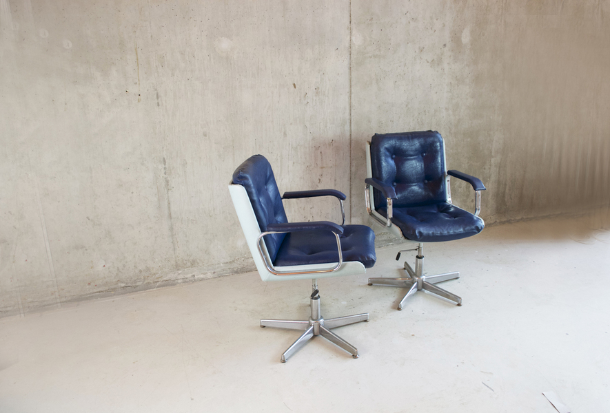 Pair Of Belgian 1970's Two Tone Blue Vinyl Office Chairs