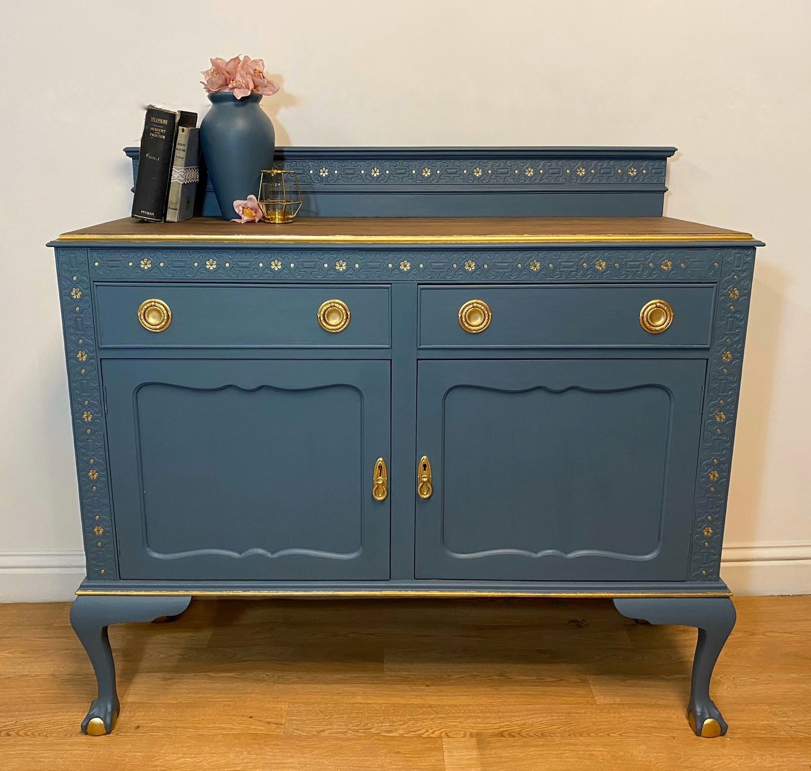Picture of: Vintage Blue Hand Painted Sideboard Buffet Storage Dresser Drinks Cabinet Cupboard Dining Room Blue Gold Vinterior