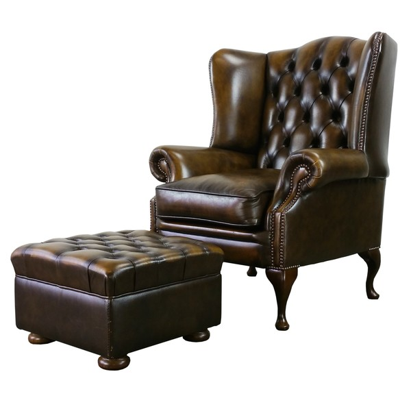Sold Brown Leather Fleming & Howland Chesterfield Wingback Armchair Foot Stool Set