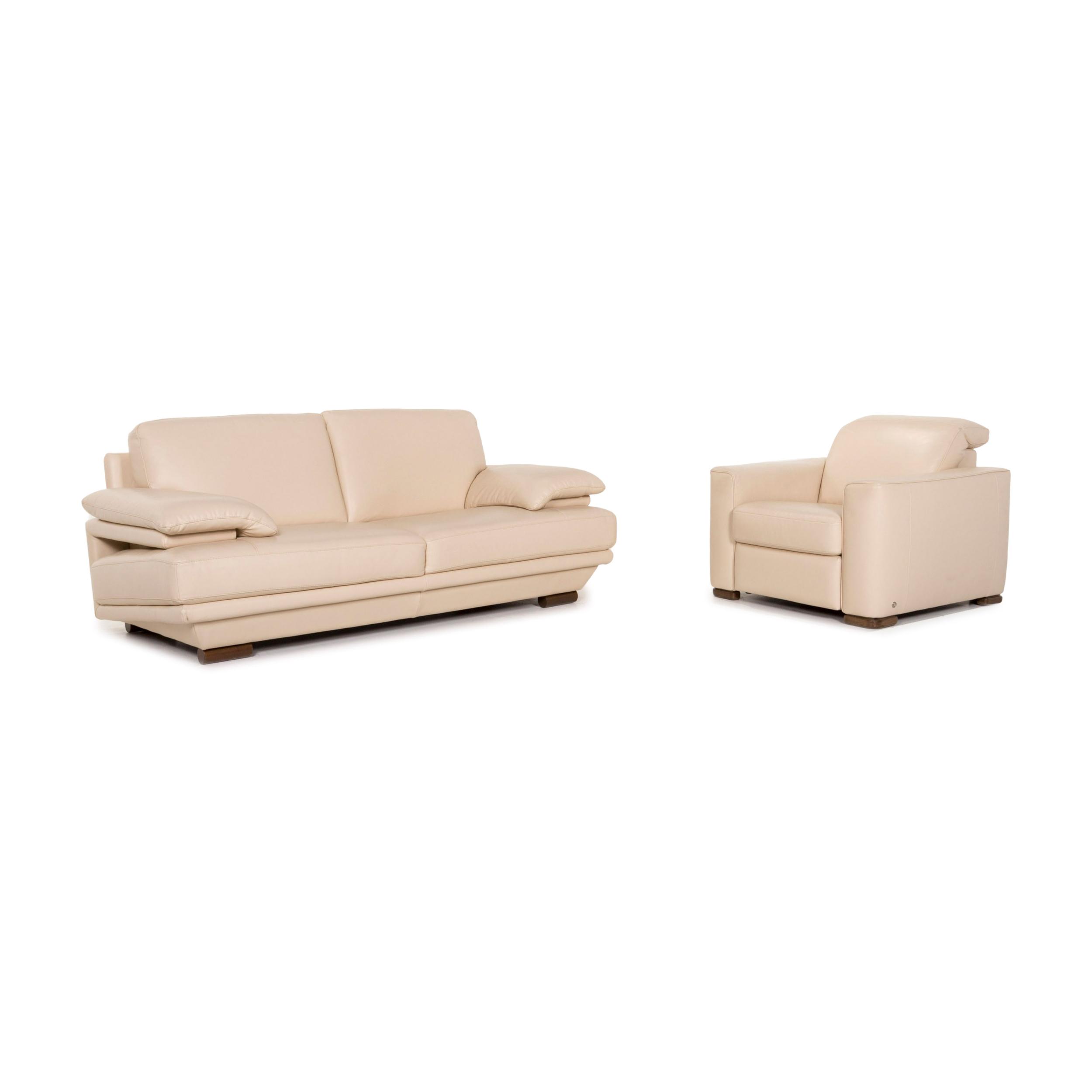 Picture of: Natuzzi Leather Sofa Set Cream 1x Two Seater 1x Armchair 12950 Natuzzi Vinterior