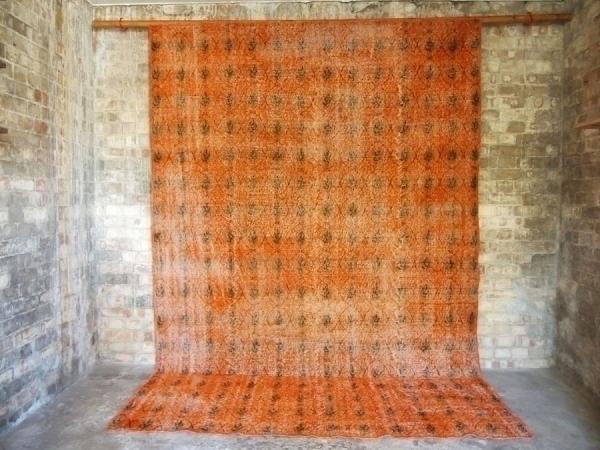 Orange Hand Woven Vintage Rug