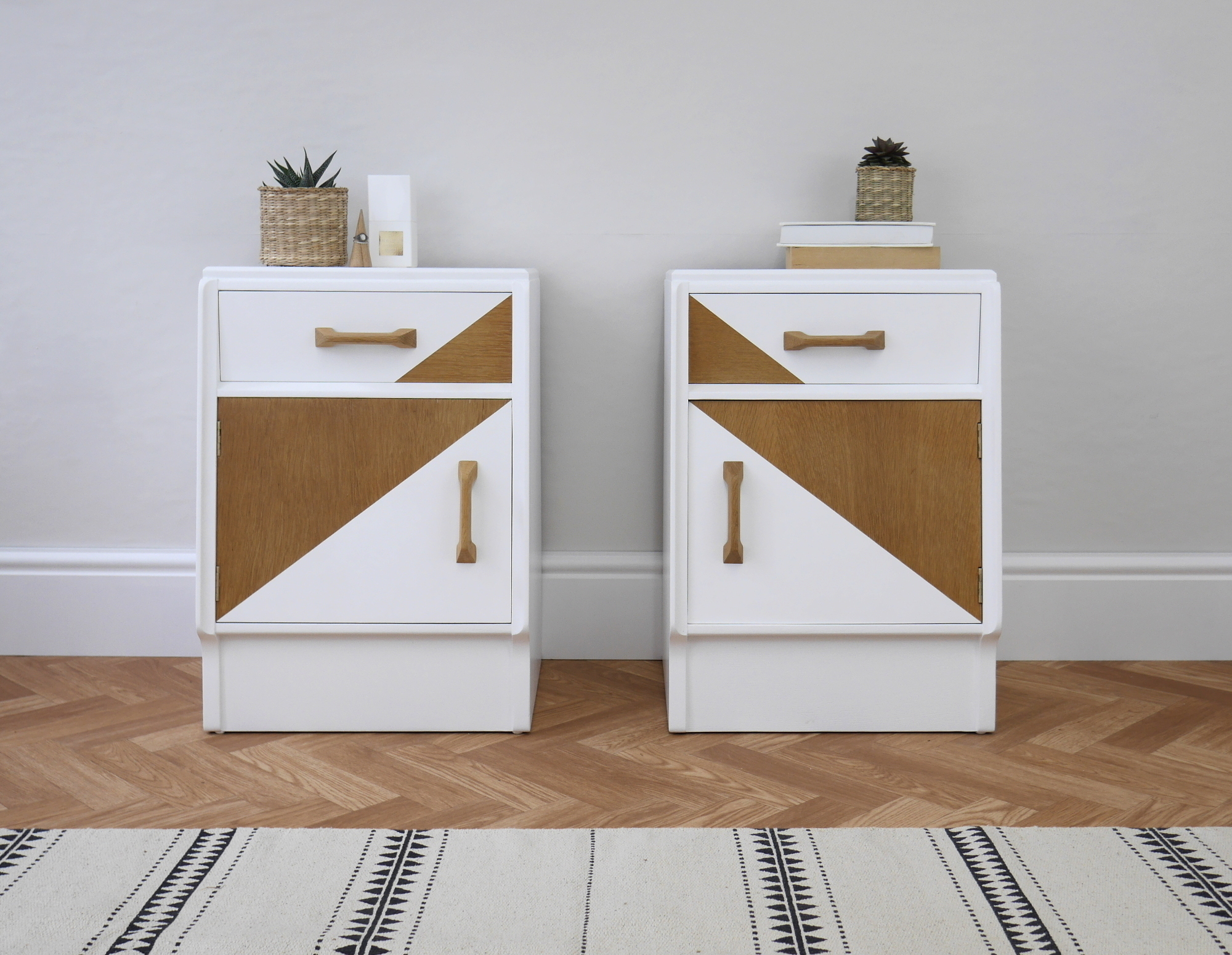 G Plan Mid Century Vintage Bedside Table Cabinets Painted White With Geometric Design G Plan Vinterior