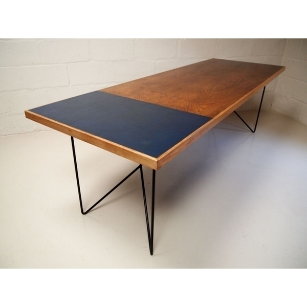 Mid Century Oak Dining Table With Blue Insert photo 1