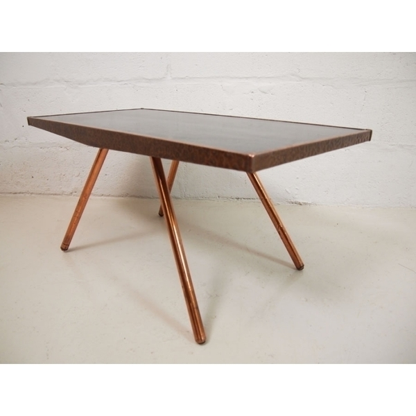 Vintage Coffee Table With Copper Legs photo 1